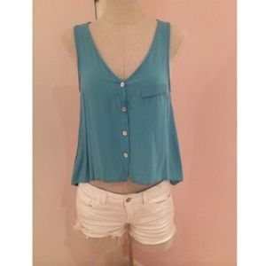 Blue v neck button down casual blouse